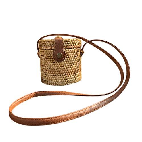 Runde, gewebte Tasche, handgewebte Rattan Tasche mit Lederarmband geflochten Frauen Umhängetasche schicke retro Sommer Strand Umhängetasche Boho Stil - Zylinderform
