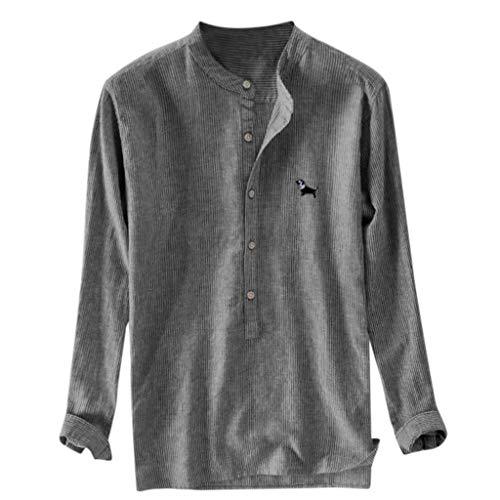 Beonzale Herren Baggy Stripe Casual Sommer Stickerei Baumwolle Leinen Langarm Button Plus Size T-Shirts Tops Bluse