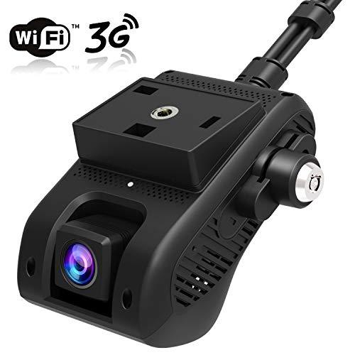 Dash Cam, JIMI JC200 3G/WiFi Dual Cámara para Coche 1080P HD con GPS, DVR Cámara Loop Grabación/G-Sensor/Corte de energía, Alarma de Vibración/SOS, 3G Transmisión de Video en Vivo a Través de APP/PC