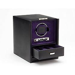 Wolf Blake Single 2.7 Automated Mechanical Lockable Watch Winder - Black and Purple