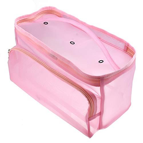Tasquite Mesh Garn Tote Bag, tragbare Strickhäkelarbeitsack für Garnstränge, Häkelnadeln, Stricknadeln, DIY Craft Handgelenk Container Box mit Reißverschluss, Make-up Kosmetiktasche, Pink -