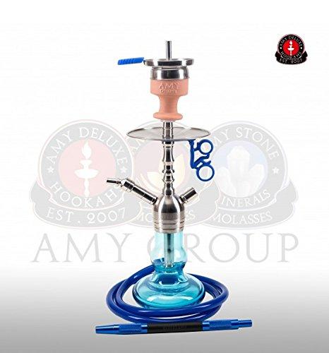 Amy Deluxe Shisha SS15 .03 Baby Tango, blau, 55 cm, Edelstahl, Wasserpfeife, Hookah (Ss-schläuche)