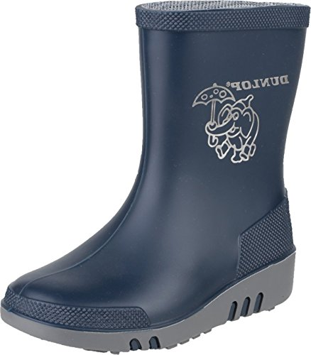 Dunlop K151710 Unisex Childrens Mini Elephant Wellington Wellies Boot Blue/Grey