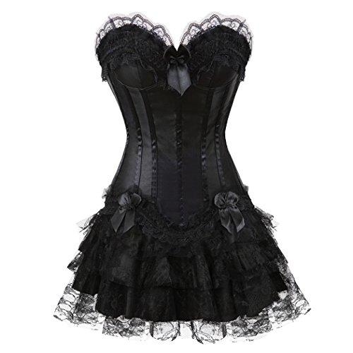 Halloween Sexy Lingerie Fashion Lace up Corset Bustier mini tutu Petticoat Skirt Nero-7006Nero