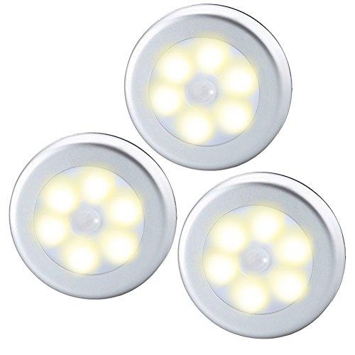 Oria Nachtlicht mit Bewegungsmelder, 3 Stück LED Bewegungsmelder Licht, Auto EIN/AUS & Batteriebetrieben LED Nachtlampe Für Terrasse Flur, Schrank, Treppen, Bad, Schlafzimmer, Küche, etc –Warmes Weiß