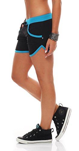 Gennadi Hoppe Damen Hotpants Fitness Shorts,schwarz/türkis,XL
