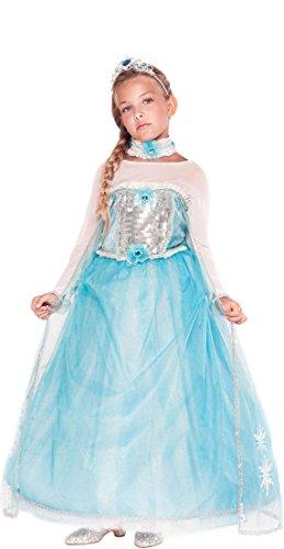 AV53912-M - Kinderkostüm PRINCIPESSA DELLE NEVI - Alter: 7-10 Jahre - Größe: M (Elsa Kostüm Alter Von 10 Jahren)