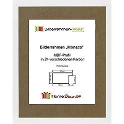 Monaco MDF Bilderrahmen ohne Rundungen 62 x 47 cm Größe wählbar 47 x 62 cm hier: Weiß matt mit Acrylglas klar 1 mm