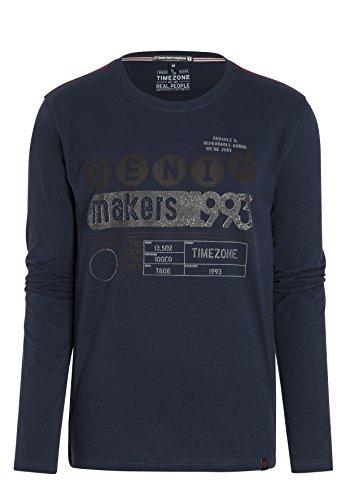 Timezone Denim Spots Longsleeve, T-Shirt Uomo Blu (total eclipse 3393)