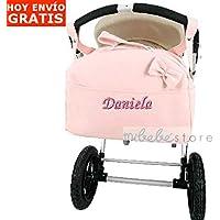 mibebestore - Bolso Polipiel Carrito Bebe Personalizado con nombre bordado ROSA - Nombre bebé bordado