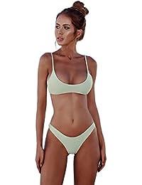 3aeda35966 Romacci Women Bikini Set Sexy Swimsuit Tropical Leaves Print Padded Bathing  Suit Low Waist Beach Swimwear