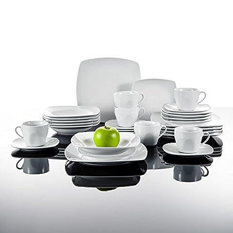 Malacasa, Série JULIA, Porcelaine Service de table, Service à café, 30 pièces avec 6 Tasses, 6 Soucoupe, 6 Assiette à dessert, 6 Assiette à soupe, 6 Assiettes plates Vaisselles Couverts pour 6 personnes Céramique Blanc