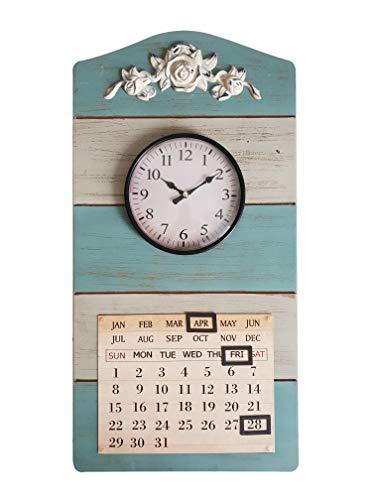 DynaSun Art Calendar 29.5 x 58 cm Reloj con Calendario de Pared de Madera y Metal Vintage Estilo Retro decoración casa salón Cocina Efecto Antiguo Shabby Chic