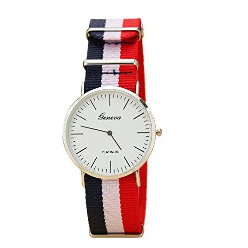 Temps plein (TM) Vogue hommes simple slim rayures montres à quartz analogique poignet montre Blanc blanc