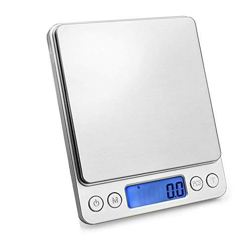 Características: Capacidad de precisión de 3000 gramos. Pantalla LCD de luz negra azul.  Indicador de batería baja.  Función de tara.  Funciona con 2 pilas AAA.  Bandeja transparente  Unidades de peso: g / oz / ozt / dwt / gt / gn Botón de uso: 1. [O...