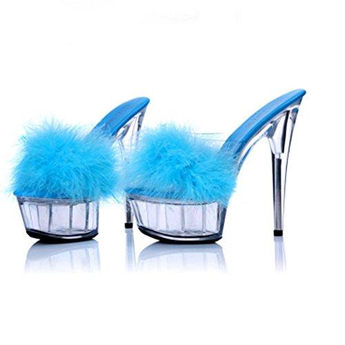 W&LMciabatte infradito Trasparente Spessore inferiore Piattaforma impermeabile Tacchi alti sandali Fine con sandali Scarpe Scarpe modello Blue