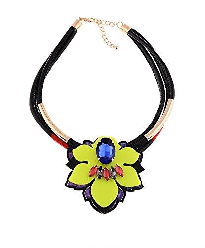 ZPL-Moda collana di fiori in pelle cavo , yellow