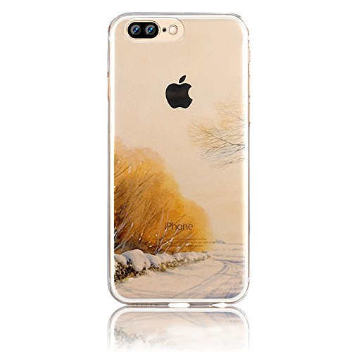iPhone 7 Plus Hülle, Vandot Malerei TPU Schutzhülle für iPhone 7 Plus Transparent Painting Muster Druck Snowflake Schneeflocke Silikon Zurück Case Cover Gummi RubberPflaumenblüte Henna Mandala Floral  Color 20