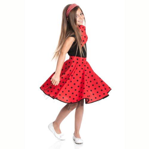 Kostüm Roll Rock And Mädchen - Kostümplanet® Rockn Roll Rock für Kinder rot mit passendem Halstuch Kinder Rock n Roll Kinderkostüm