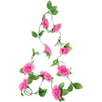 shuzhen,Moda Decoracion Flores Vid Garland Coronas de Flores Ramo Hojas Accesorio de hogar(Color:Rosa Profunda)