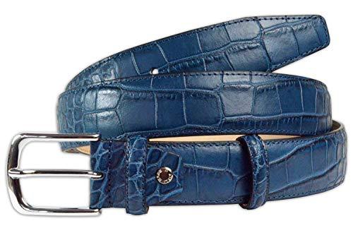 Pasquale Cutarelli Cinturón de Cuero Italiano para Hombre con Patrón de Cocodrilo Navy Azul X-Large 110cm