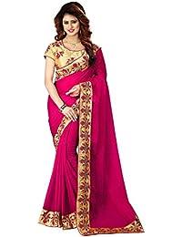Greenvilla Designs Pink Chiffon Partywear Saree With Blouse