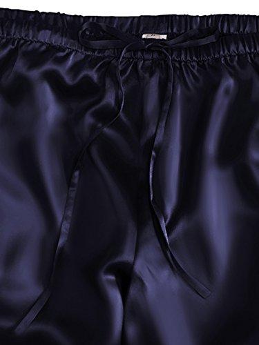 ELLESILK Damen Shorty Nachtwäsche aus 100% Seide, Pyjama kurz für Frauen, 22 Momme Navyblau