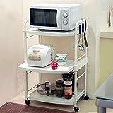 Kitchen Furniture - Estante de Almacenamiento eléctrico del Dispositivo eléctrico del Estante del Horno del Carro del Comedor Blanco de Tres Niveles WXP