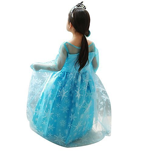 Imagen de uraqt vestido de princesa reina de las nieves disfraz elsa vestido infantil niñas costume azul alternativa