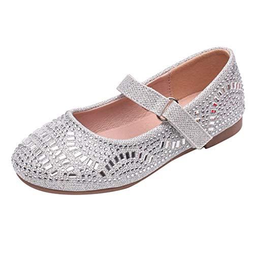 TUDUZ Sommer Kinder Jungen Mädchen Strand Flache Beiläufige Sport Sandalen Schuhe Turnschuhe Slipper Ballettschuhe/Ballettschläppchen(Silber,26EU)