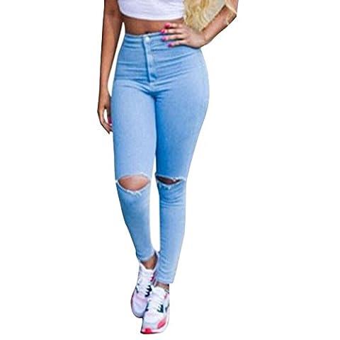 Jardin Rêvé Femme Pantalon Printemps Jeans Trou Taille Haute Denim
