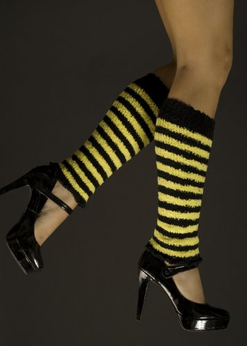 Stulpen gelb gestreifte Biene (Bee Kostüme Für Bumble Frauen)