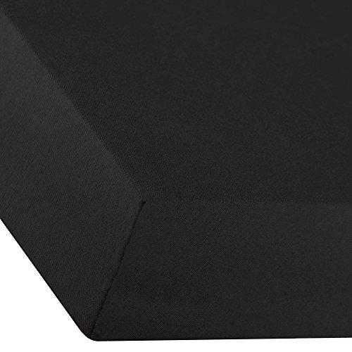 aqua-textil Premium Spannbettlaken 8% Elastan für Wasser- und Boxspringbett 180 x 200 | 180 x 210 | 180 x 220 | 200 x 200 | 200 x 210 | 200 x 220 cm Luxus Jersey Mako Baumwolle 0010226 Schwarz -