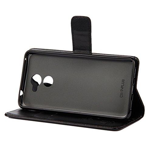 KM-WEN® Etui pour Apple iPhone X (5,8 pouces) Book Style Lotus Motif Fermeture Magnétique avec Fonction Stand et ID de Crédit Porte-Cartes Slot PU Cuir Étui Portefeuille Protecteur Couverture Arrière  Noir