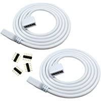Liwinting 2pcs 5pin 2m/6.56ft RGBW Extension Cable, LED Strip Extension Cable Connector for SMD 5050 RGBW LED Strip Light, Tape/Ribbon Light Cable with Free 4pcs 5pin Connector - White