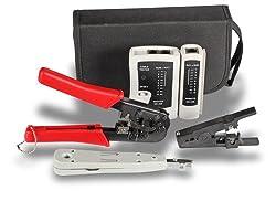 SCE NetWork Home/Office Netzwerk Werkzeug Set bzw. Werkzeug Tasche, Ideal für den Vor-Ort-Service, bestehend aus Crimpzange, Leitunsprüfer/Tester, Auflegewerkzeug und Abisolierwerkzeug