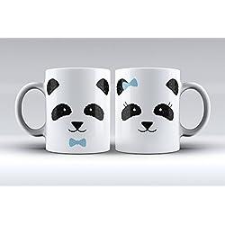 Pack 2 tazas ilustración oso panda decorada desayuno regalo original pareja
