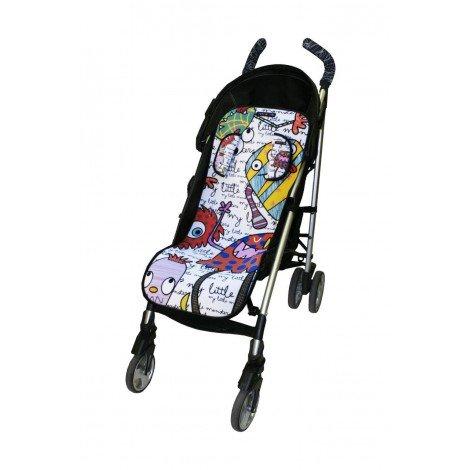 Tris&Ton colchoneta silla de paseo ligera universal para carrito cochecito bebe transpirable de microfibra modelo Monsters + protección de arneses (Trisyton)