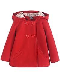 Baby Mädchen Mantel Herbst Wintermantel Kapuze Jacke Outerwear Zweireihige Knöpfe Alter 2-7 Rot Rosa