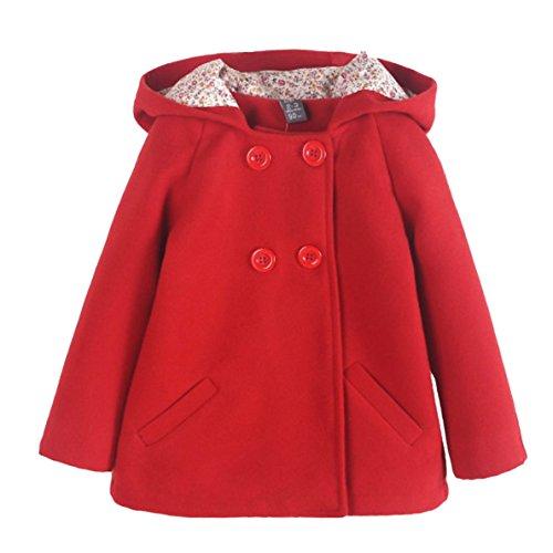 Happy Cherry - Niñas Abrigo Encapuchado Lana de Invierno Princesa Chaqueta con Capucho Caliente Diseño Simple Casual Coat for Girls - 5-6 Años - Rojo