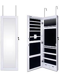 Ezigoo Joyero Pared, Espejo con Armario para Joyas, Montura para Puerta, Espejo con Gabinete con Luces LED, 110 x 31.5 x 8.5 cm