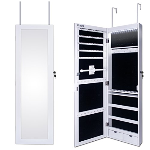 Ezigoo Wall Jewelry Box, Mirror with Jewelry Wardrobe, Door Frame, Mirror with Cabinet with LED Lights, 110 x 31.5 x 8.5 cm