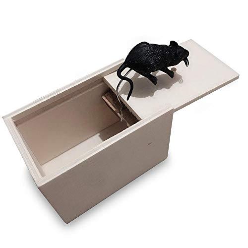MOGOI Holz-Überraschungsbox, lustige Holzkiste Streichspielzeug, Spinnmaus oder zufällige Streich-Box für Jungen, Mädchen, Erwachsene Maus