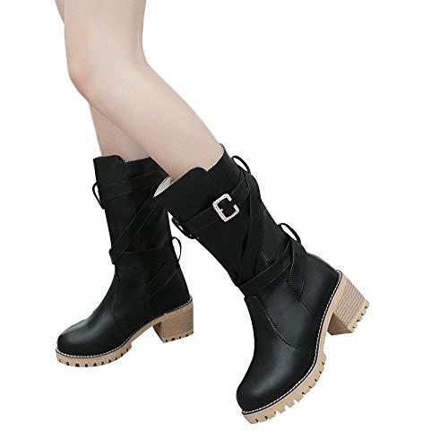 Stiefel Damen Boots Mode Frauen Stiefel Runde Kappe Martin Stiefel Klassische Stiefeletten Rutschfest Freizeitschuhe Warm halten Schuhe ABsoar