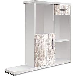OVERHOME365 1247 B/V - Consola decorativa, madera, color blanco y vintage, 82.5x20x76.5 cm