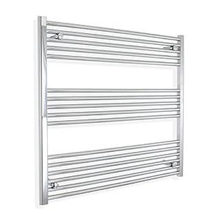 1000mm wide x 800mm high Heated Towel Rail Straight Flat Chrome Bathroom Warmer Radiator Rack Central Heating