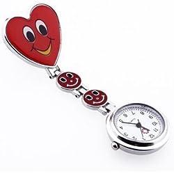 danapp Fashion Cute creativo cara sonriente enfermería reloj para usted, Rojo, 1