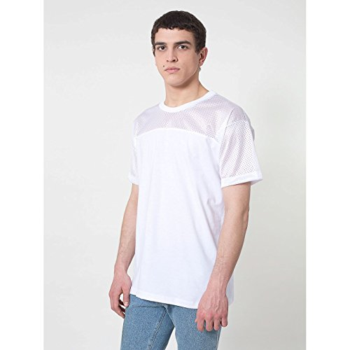 American Apparel - Maglietta a Maniche Corte con Sprone - Uomo (S) (Bianco)