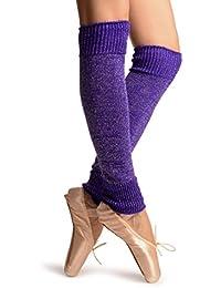 Electric Indigo With Silver Lurex Dance/Ballet Leg Warmers - Leg Warmers - Morado Calentadores moda Talla unica (50 cm)