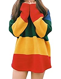 Damen Pullover Mädchen Langarm Winter Herbst Strick Elegant Vintage Bunt  Rundhals Pulli Hipster Warm Festlich Gestreift f7eca8f926